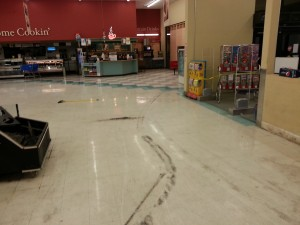 Burn out on grocery stores floor