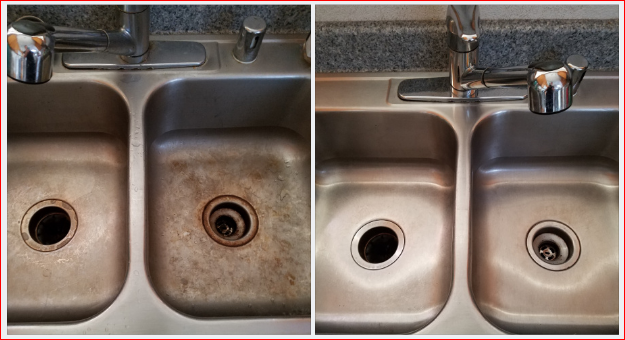 Before & After Double Stainless Steel Kitchen Sink